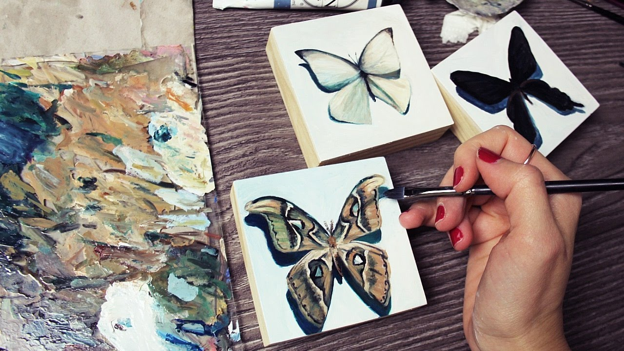Encaustic Painting Insect Art Butterfly Moth Art Small Painting Wood Panel Bee Photo Image Transfer Original Art
