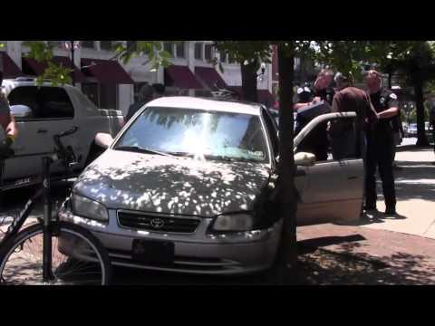 Car strikes tree at Penn Square
