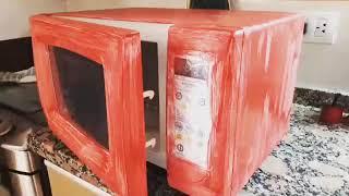 Como pintar un microondas con pintura de tiza!