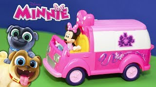 MINNIE MOUSE  Disney Helper Van Minnie Saves Puppy Dog Pals and Paw Patrol Funny Toy Video