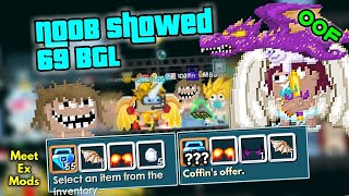 NooB Showed 69 BGL in Total | Show For Fun | Meet Ex Mods Diichaan Growtopia