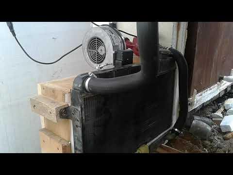 Водяной тепловентилятор из автомобильного радиатора в рассаднике