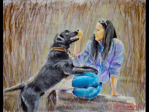Рисуем Девушку с собакой Как нарисовать картину пастелью. Полный урок!