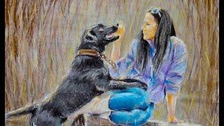 Рисуем пастелью Девушку с собакой. Как рисовать картину пастелью. Картина пастелью - Полный урок!
