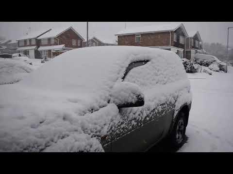 Snowfall In Obelisk Rise, Northampton, England, UK