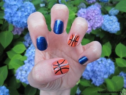 cute basketball nail art tutorial