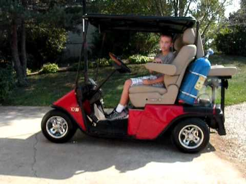 Ez Go Golf Cart On Bags Youtube