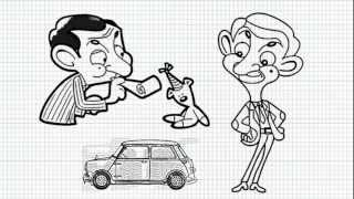 How to draw Mr Bean , Teddy and his car - Mini cooper - Video - Easy Drawings