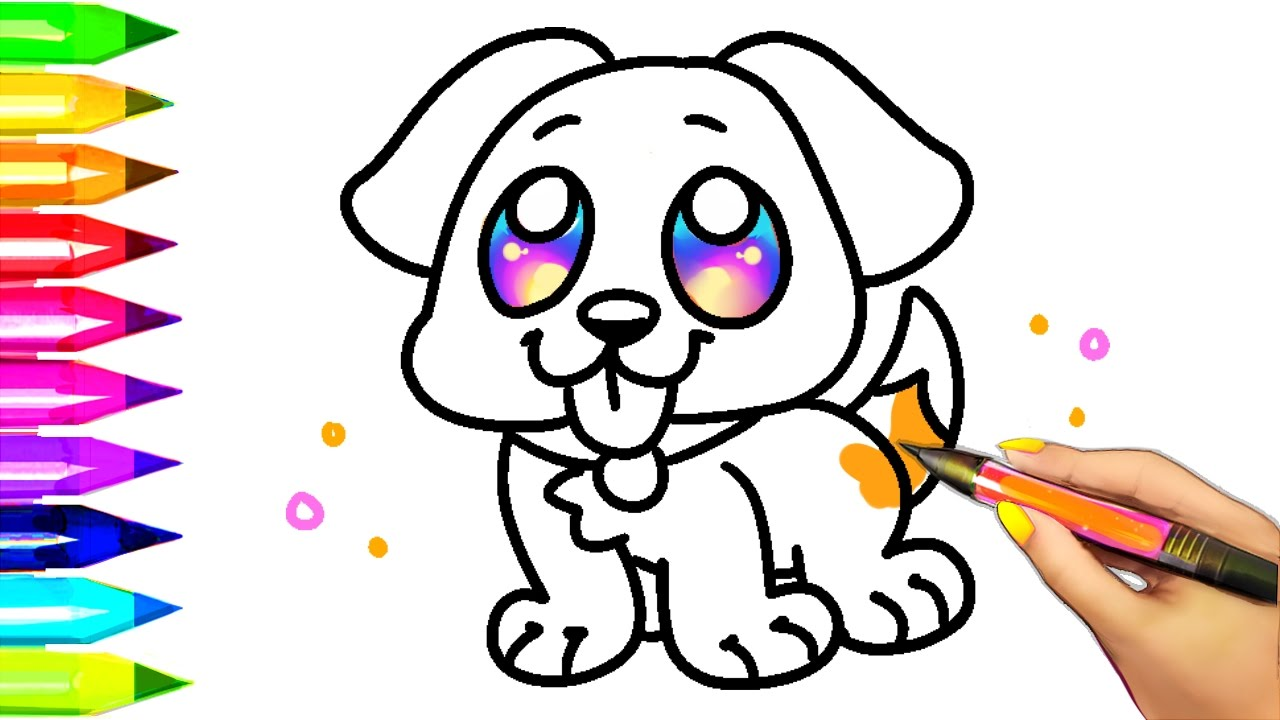 Easy Dog Coloring Pages For Kids Learning Colors With