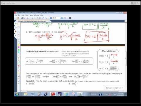 Math 1060 Sec. 3.5 - Double-Angle and Half-Angle Identities