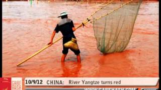RIVER TURNS RED IN CHINA SEPTEMBER 10 2012