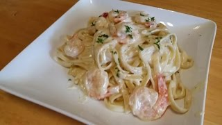 Fettuccine Alfredo With Shrimp-In The Kitchen With Sandy Episode 52