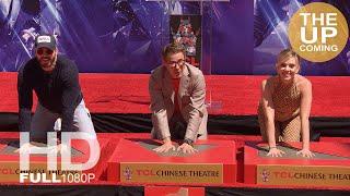 Avengers historic handprint ceremony at Chinese Theatre for Endgame: Robert Downey Jr, Chris Evans