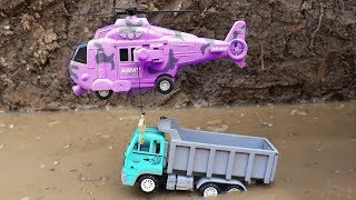 Helicopter Rescue Construction Vehicles Toys - Excavator | Wheel loader | Tank | Dump truck