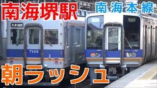 次々と電車が来る平日朝ラッシュの南海堺駅1時間半ノーカット! 南海本線 準急など