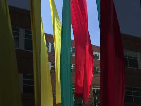 Colorful Banner Installation by Joan Farrenkopf