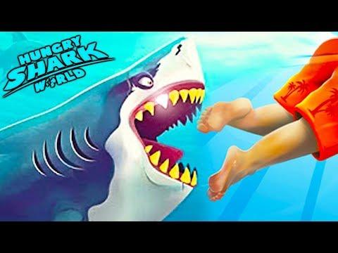 У меня Самая ГОЛОДНАЯ АКУЛА в мире Эволюция Акул прохождение hungry shark world мультик топ игра