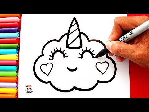 Aprende A Dibujar Una NUBE UNICORNIO Kawaii Con BRILLANTINA | How To Draw A Glitter Unicorn Cloud