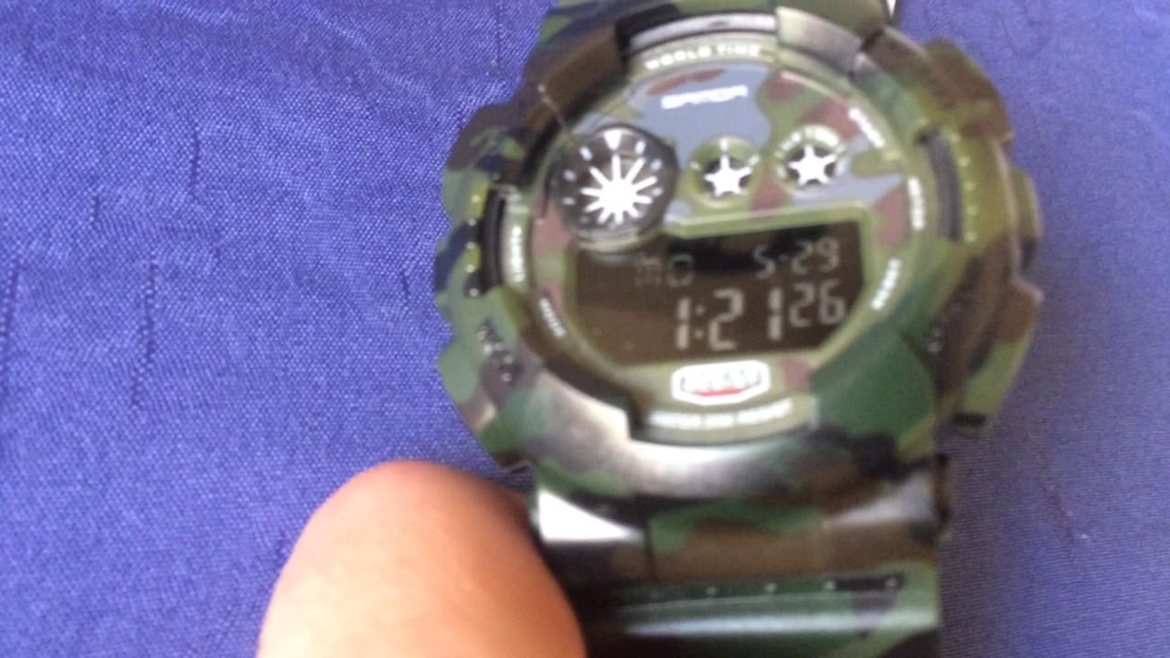 1a37df29938 Relógio Camuflado Militar Sanda Estilo G-Shock Digital - YouTube