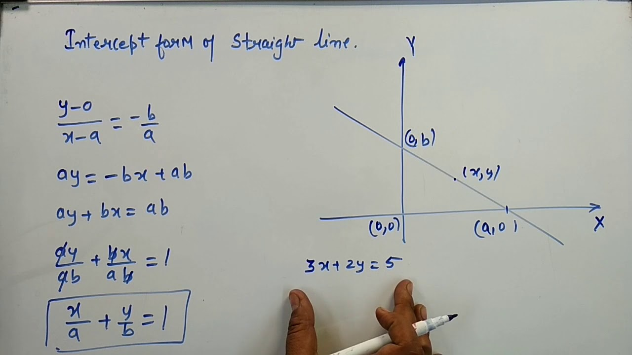 intercept form of the equation of a line  Deriving Intercept form of Straight Line x/a+y/b=9 | Kamaldheeriya