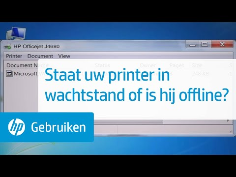 Staat uw printer in wachtstand of is hij offline