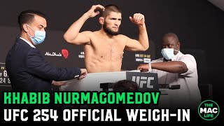 Khabib Nurmagomedov uses towel to weigh-in first for UFC 254