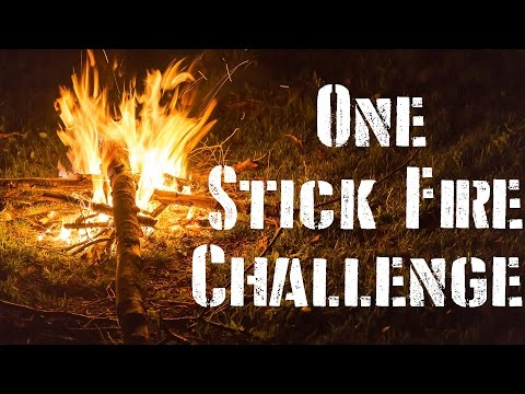 One Stick Fire Challenge!  Bushcraft Survival Skills