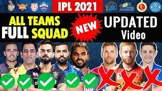 IPL 2021 All Teams New Full Final Squad Players List for UAE Dubai CSK MI KKR DC RCB SRH RR PBKS