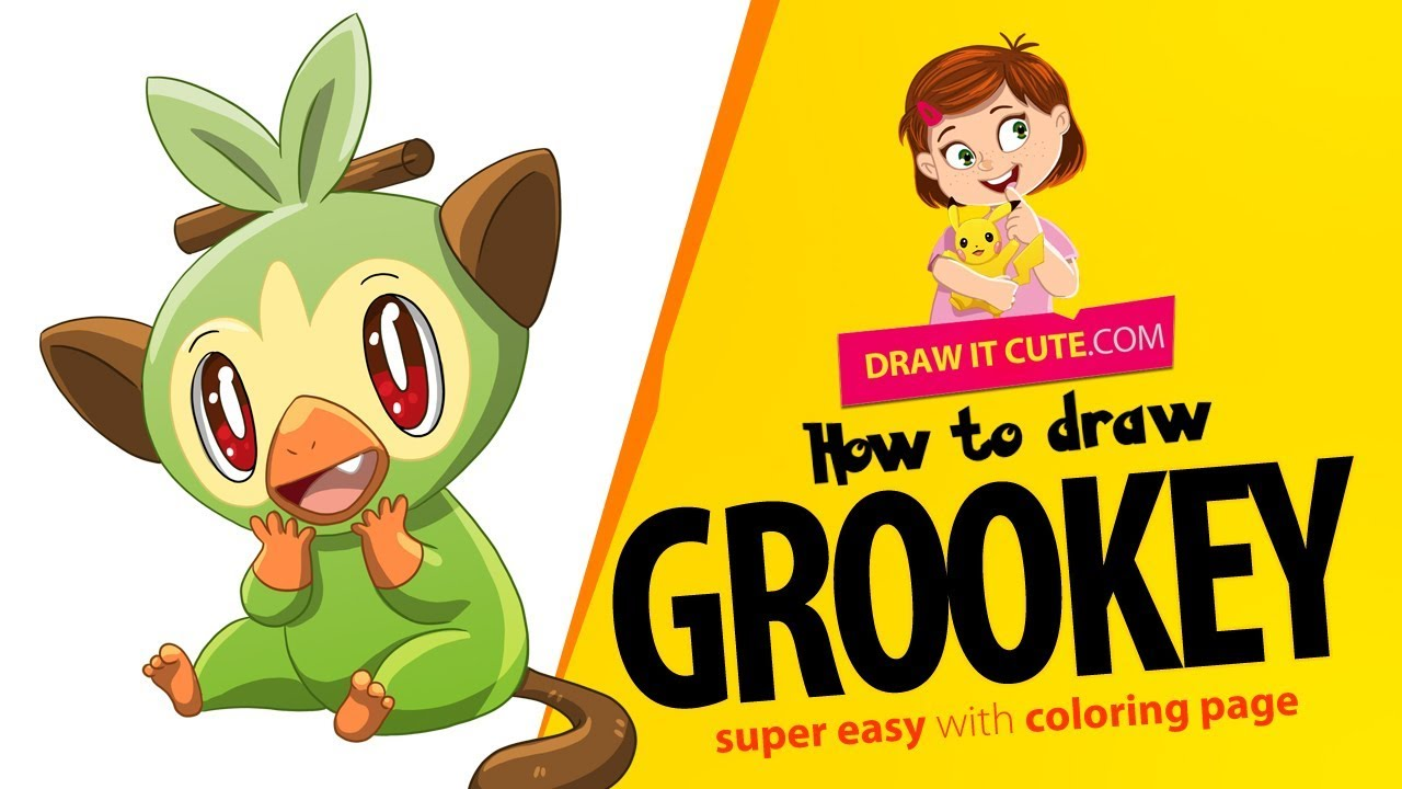 How To Draw Grookey Pokemon Super Easy With Coloring Page Youtube