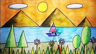 geometrical shapes scenery using drawing 2d draw shape geometric drawings easy grade basic sketch step