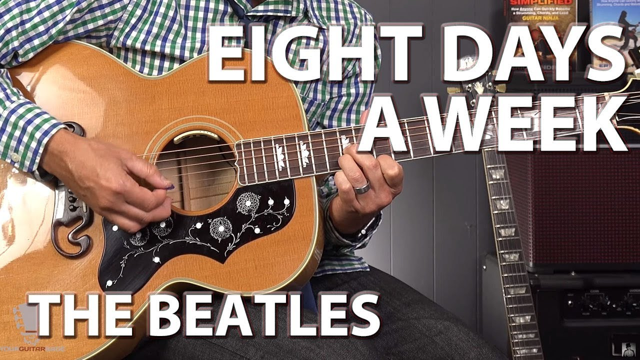Eight Days A Week By The Beatles Easy Beginner Guitar Lesson Youtube