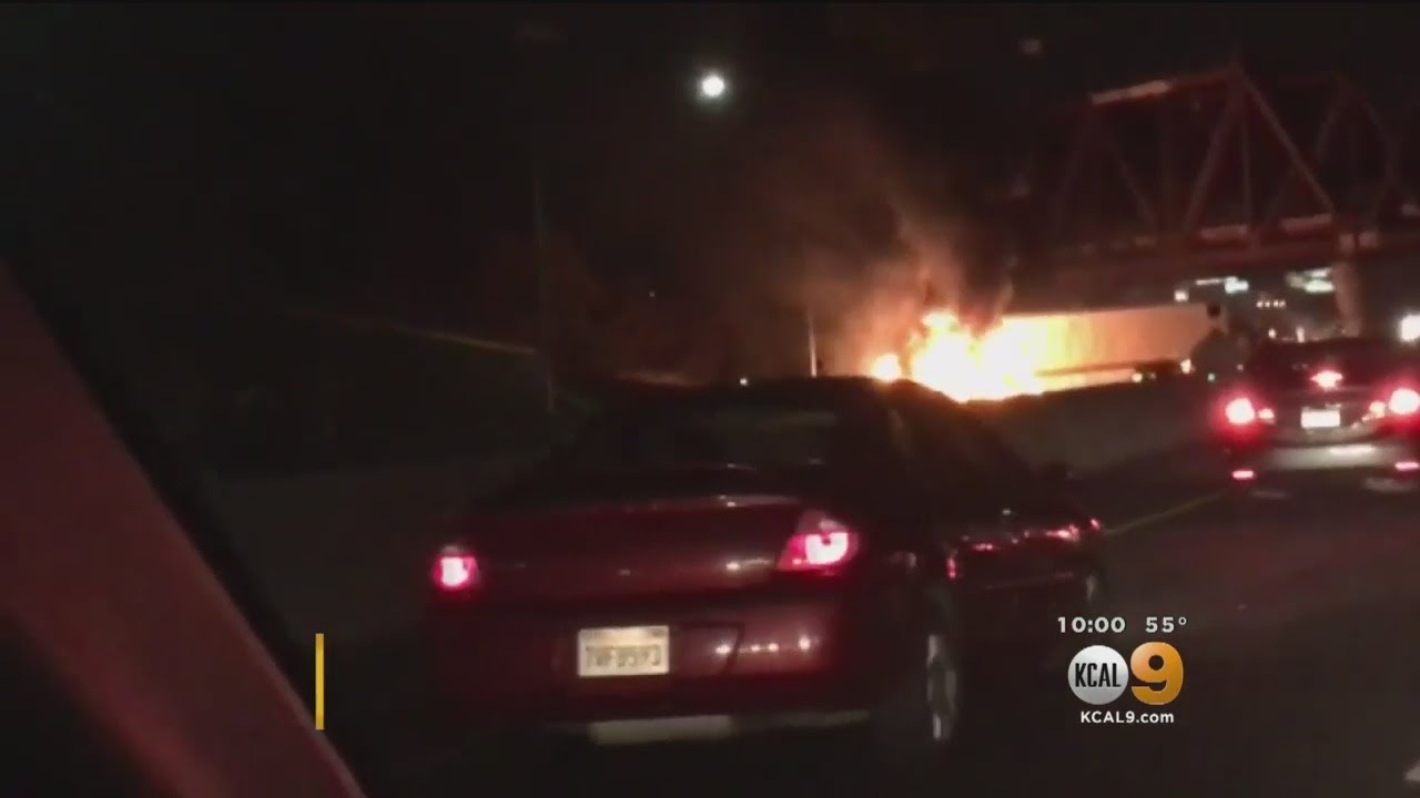 Fiery Big-Rig Crash Causes Traffic Nightmare On 215 Freeway
