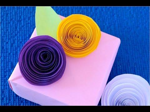 бумажные цветы своими руками из бумаги самые простые