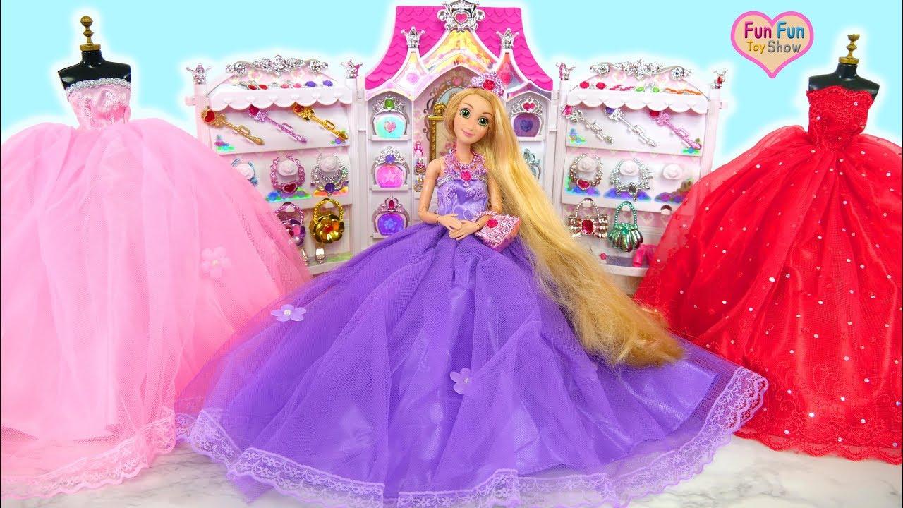 Barbie Rapunzel Cinderella Elsa Snow White Doll Dress Up Gaun Boneka Barby Vestido De Boneca