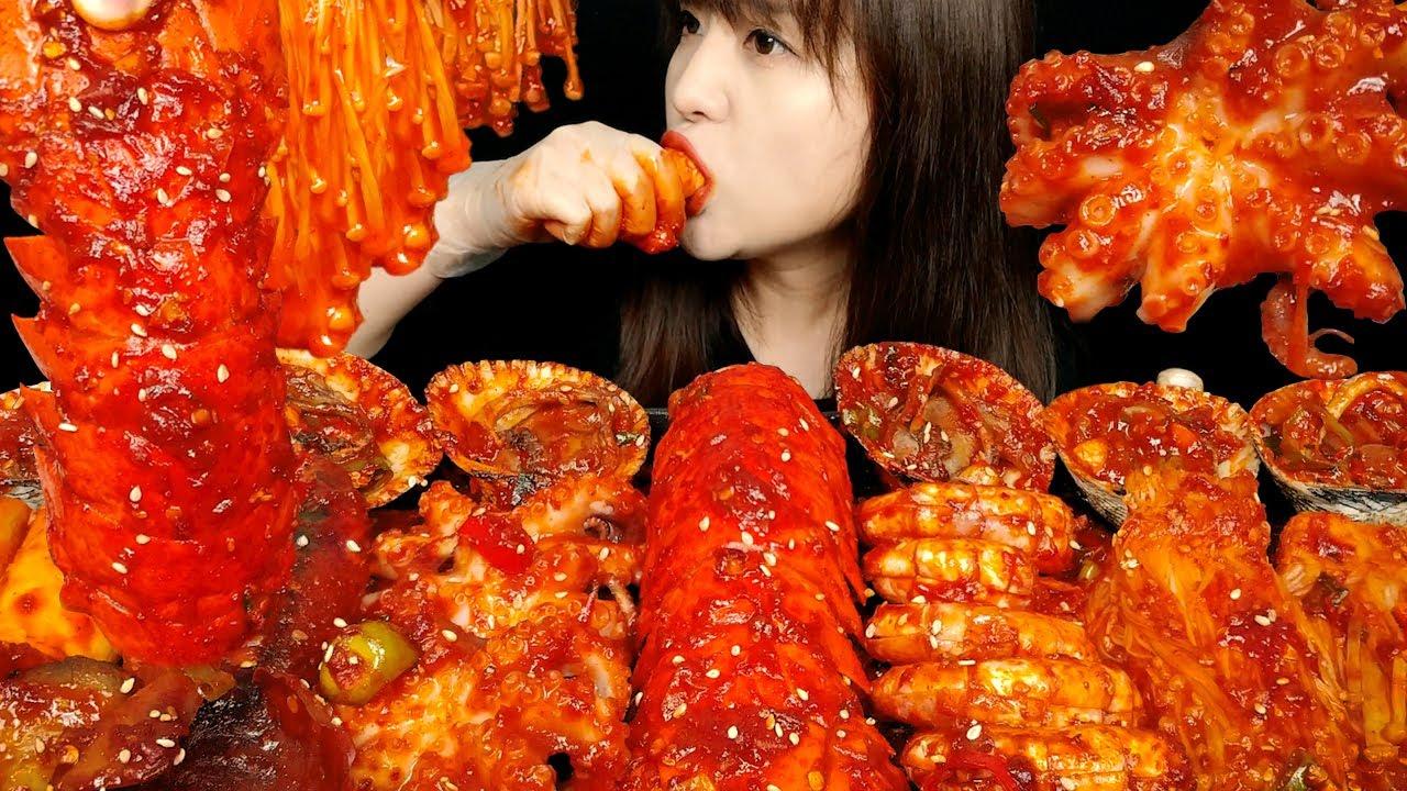 ASMR 매콤하고 감칠맛 짱 해물구이 먹방!! (랍스터테일, 아르헨티나새우, 왕꼬막, 팽이버섯, 봄주꾸미, 새송이버섯, 오징어)  리얼사운드 먹방~ MUKBANG