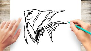 how to Draw Angel Fish Step by Step for Kids