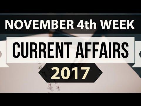 (English) November 2017 current affairs MCQ 4th Week complete - IBPS PO / SSC CGL /UPSC /RBI Grade B