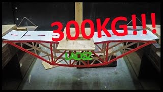 Broke the Uni record! The bridge weighs 673grams and it held 3.024kN or 308kg. That means that the bridge has a load to weight