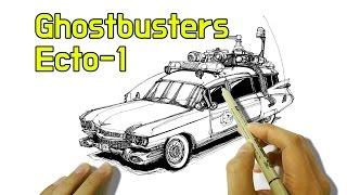 고스트버스터즈 자동차 그림 그리기 - Ghostbusters Ecto-1 car ( 1959 Cadillac )