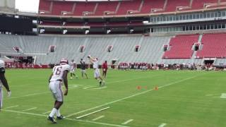 Alabama's wide receivers working prior to the scrimmage