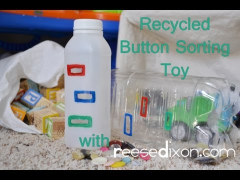 DIY Recycled Button Sorting Toy - fun, educational, and free!
