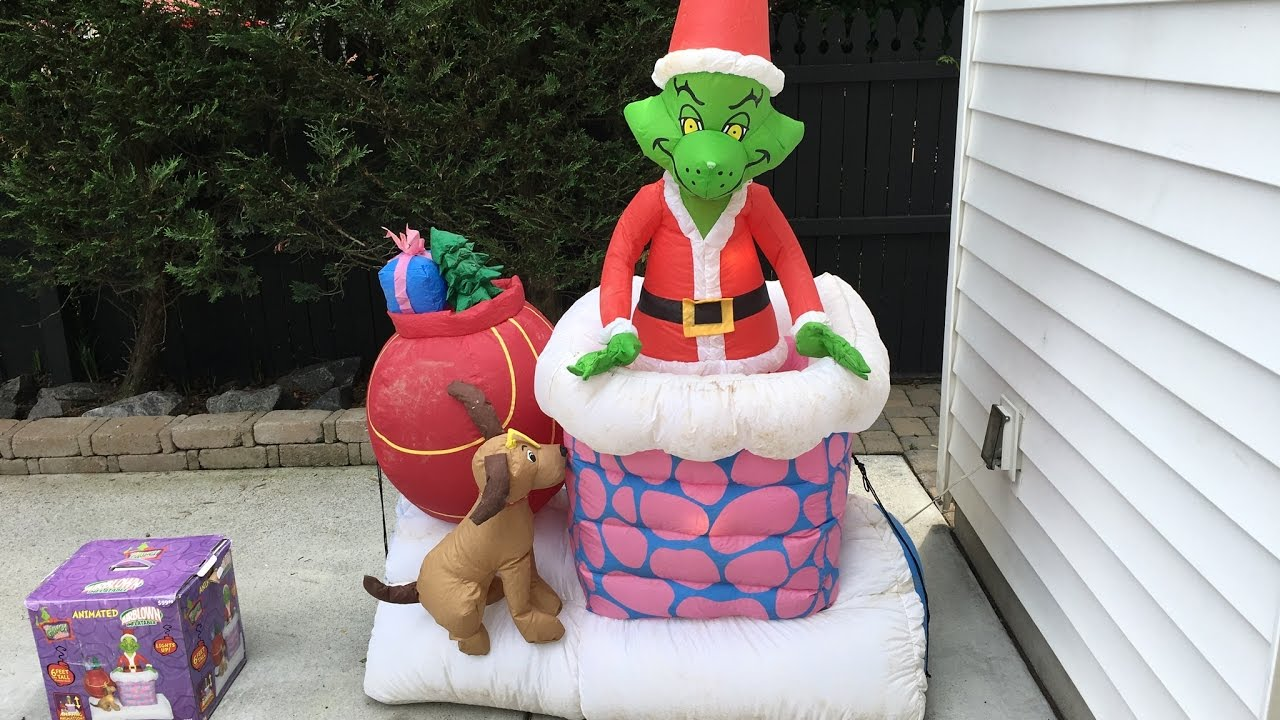 Gemmy 2007 animated Grinch in chimney Inflatable review