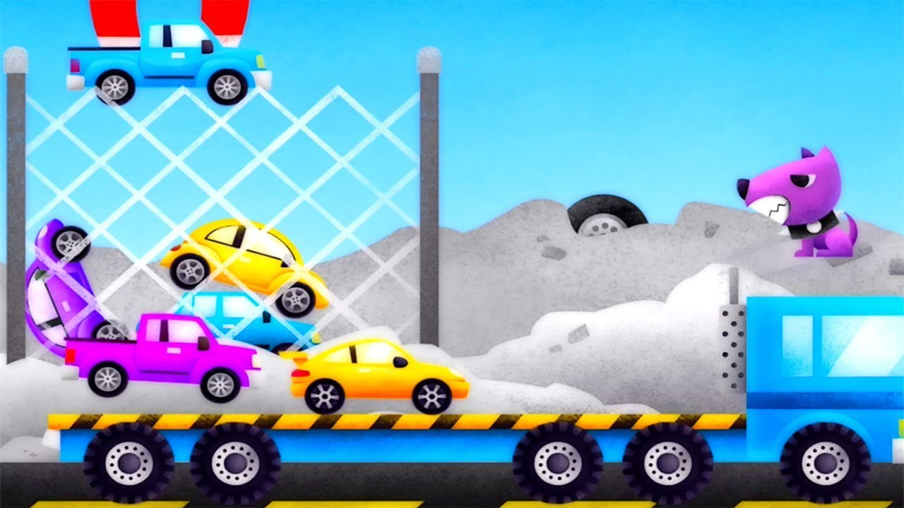 Police Car and Truck Trailer Collecting Cars to the Garage Gameplay with Gertit