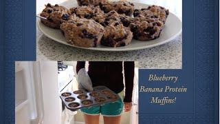 Gluten Free Vegan Blueberry Banana Protein Muffins!