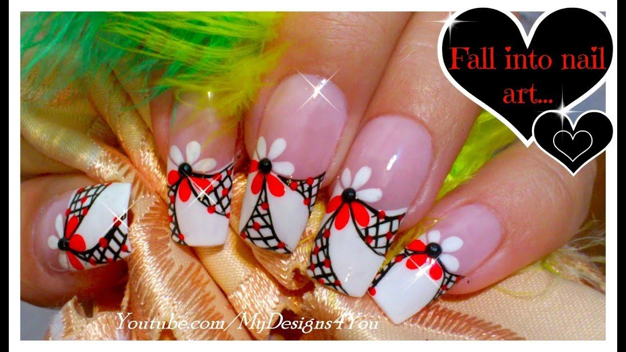 Floral Nail Art for Long Nails ♥ - YouTube