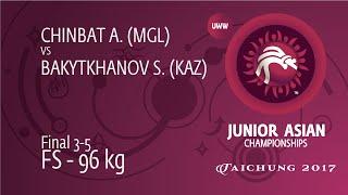 BRONZE FS - 96 Kg: S. BAKYTKHANOV (KAZ) Df. A. CHINBAT (MGL), 10-9