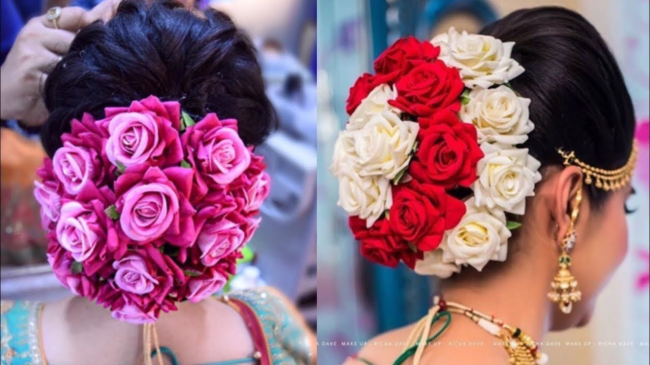 Beautiful Flower Bun Hairstyle/engagement Hairstyle