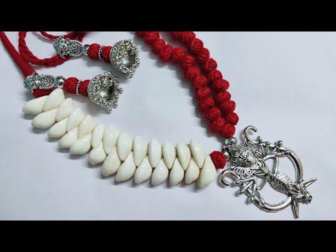 How to make german silver Durga pendent necklace with kori।। Cotton beads necklace।।