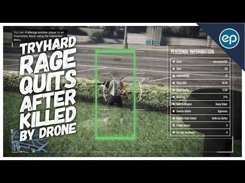 GTA 5 | TryHard Rage Quits after killed by Drone