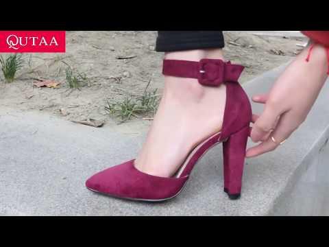 ⚡ Женские бордовые замшевые туфли на высоком каблуке QUTAA  с Алиэкспресс